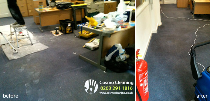 After renovation office carpet tiles cleaning
