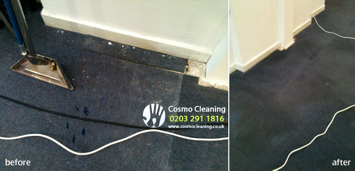 After renovation office carpet tiles cleaning and stain removal